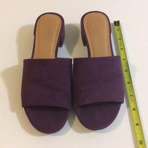 Rampage purple slip on sandals small heel